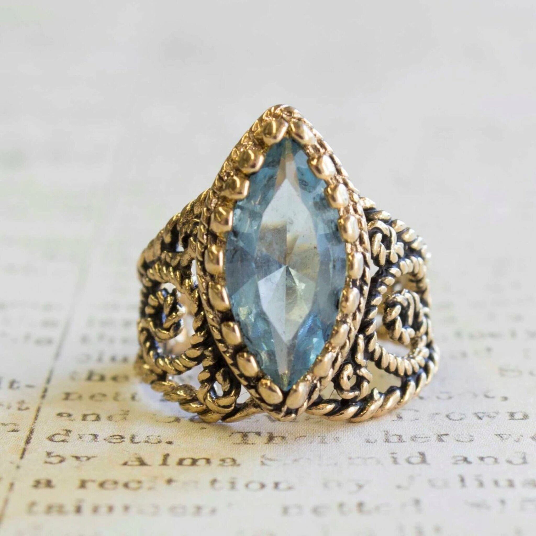 Vintage Filigree Aquamarine