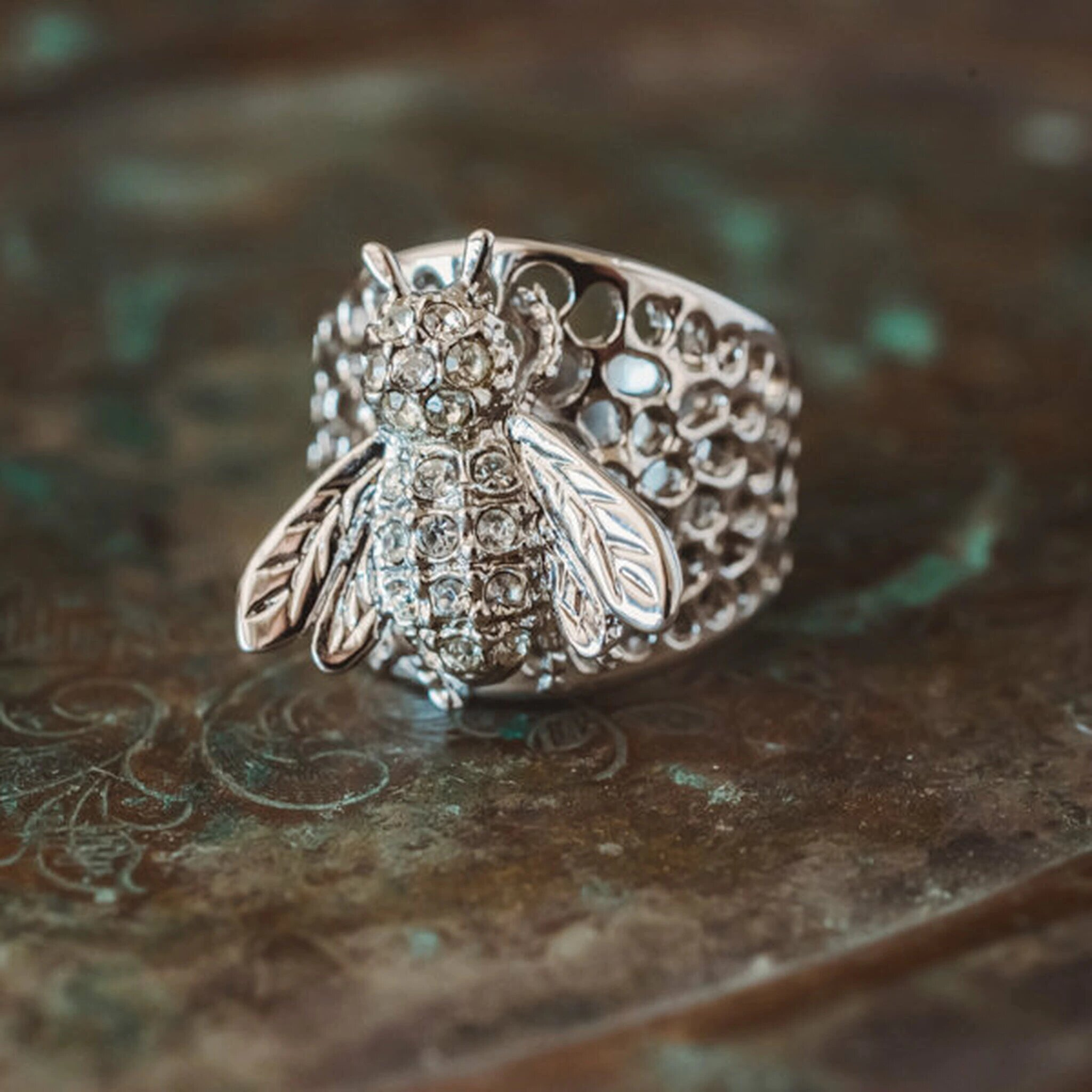 Vintage Bee on Honeycomb Ring