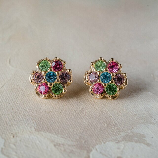 Vintage Pastel Flower Earrings