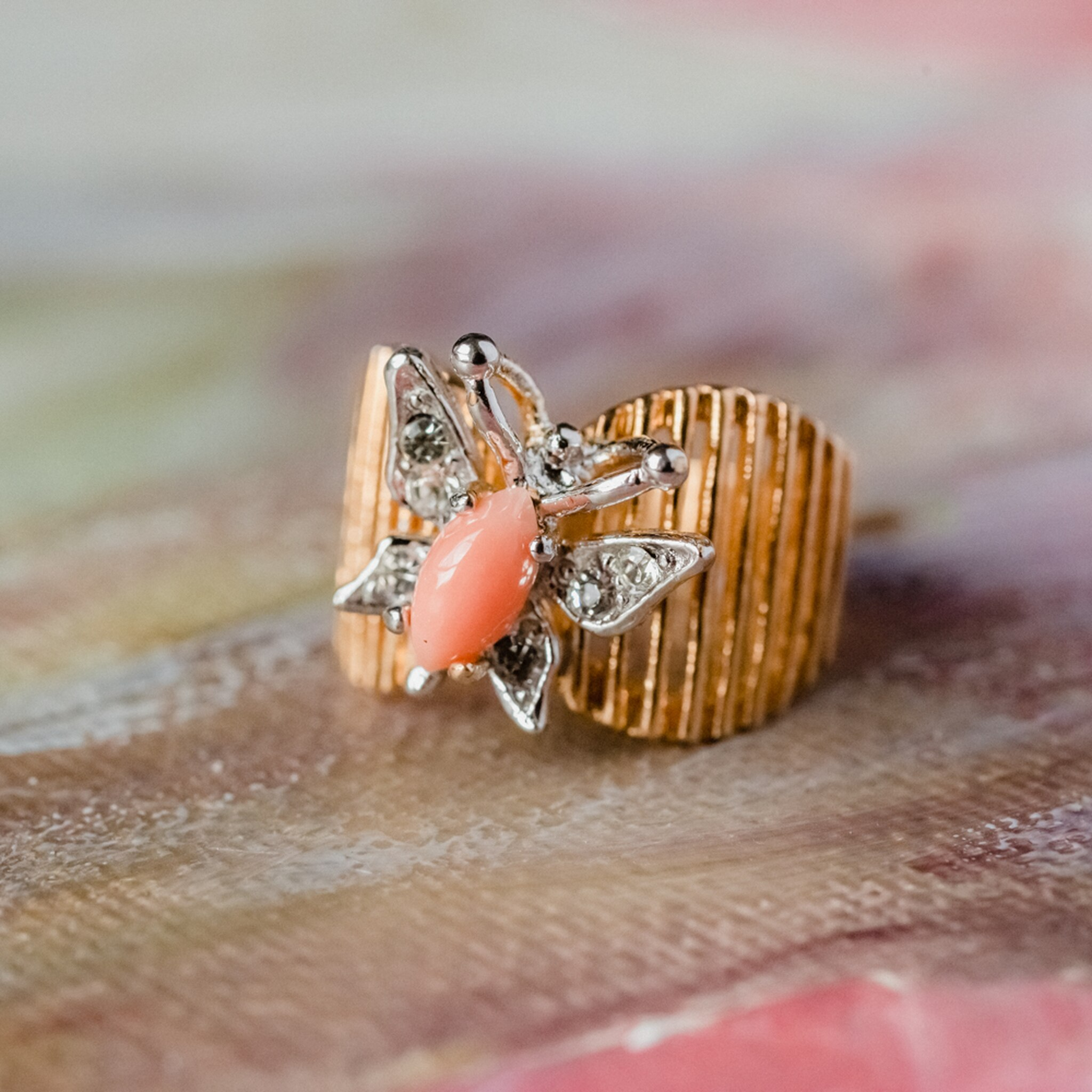Genuine Coral Vintage Butterfly Ring